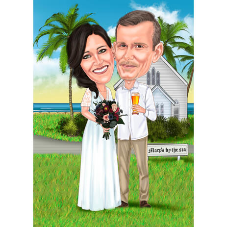 Newlyweds Gift - Couple Wedding Caricature from Photos in Color Style - example
