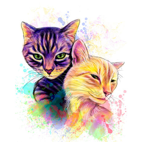 Solo Cats Watercolor Portrait in Rainbow Colors from Photos - example