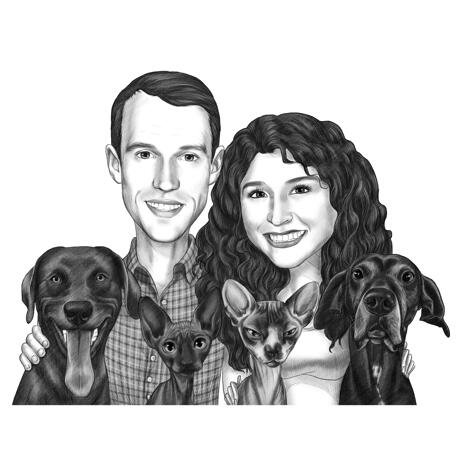 Couple with Pets Caricature Portrait in Black and White Style - example