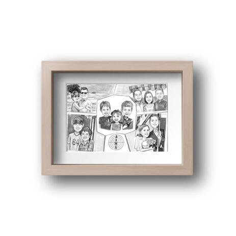 Family Collage Caricature as Poster - example