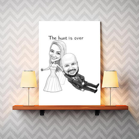 Funny Wedding Caricature for Bride and Groom Printed on Canvas - example