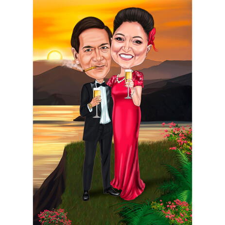 Personalized Wedding Anniversary Caricature Gift With Custom Background - example