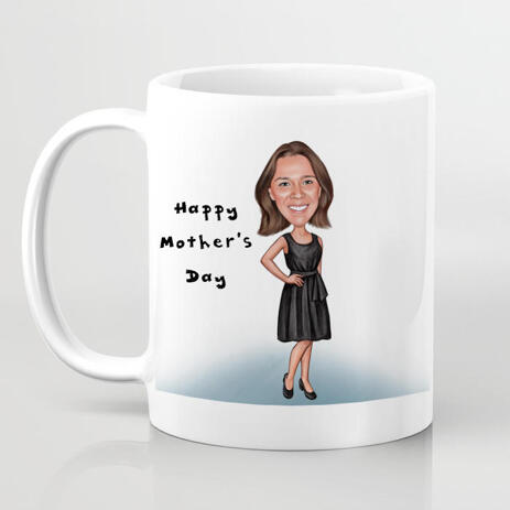 Personalized Mug: Custom Print on Coffee Mug with Colored Pencils Cartoon Drawing - example