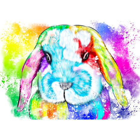 Bright Rabbit Portrait with Colorful Background in Watercolor Style - example