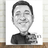 Monochrome Print on Canvas with Custom Caricature Drawing