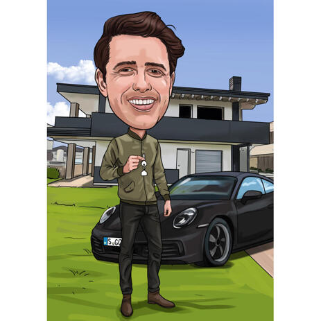 Full Body Custom Caricature with Cars in Background - example