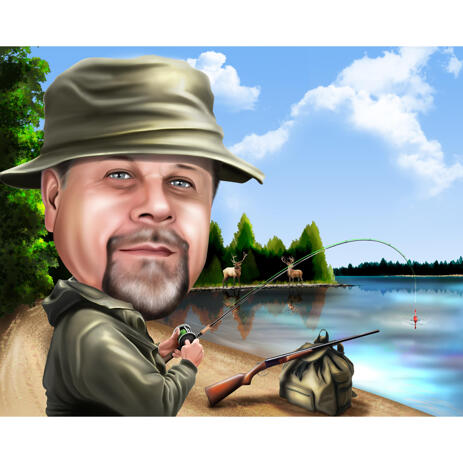 Fisherman Caricature with Lake Background for Fishing Lovers - example
