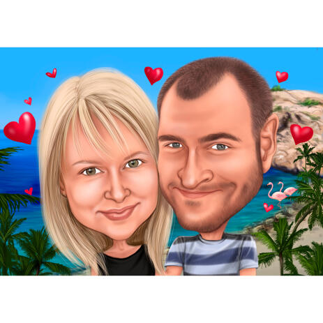 Vacation Honeymoon Couple Caricature Hand Drawn by Artists from Photos - example