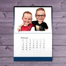Friends Kids Caricature on Calendar