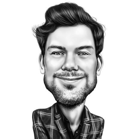Черно-белая карикатура человека с фотографии. - example