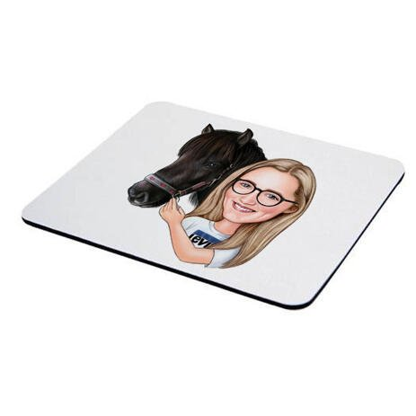 Girl and Horse Caricature Printed as Mouse Pad - example