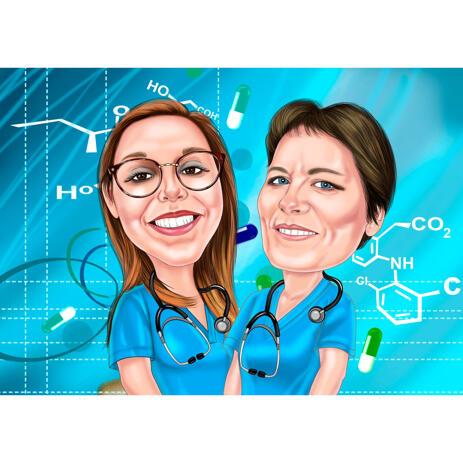 Dessin de dessin animé de collègues infirmiers avec fond personnalisé à partir de photos - example