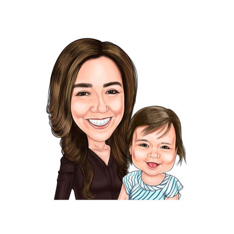 Mother with Daughter Head and Shoulders Caricature from Photos - example