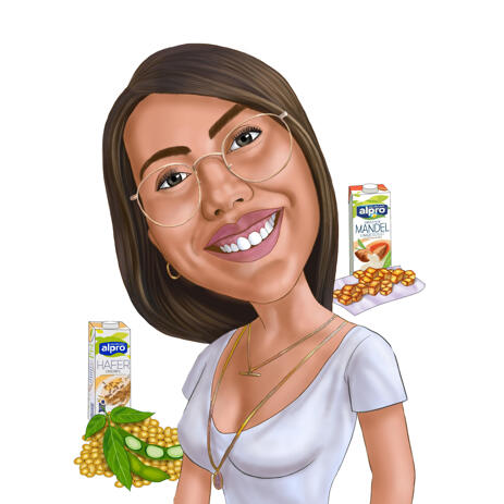 Person Cartooning Caricature from Photos for Vegans - example