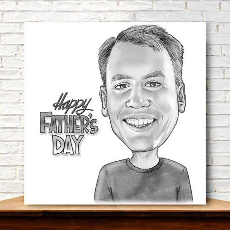 Print on Canvas: Customized Cartoon on Father's Day - example