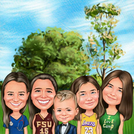 Shaping the Future - Kids Group Caricature Gift with Custom Background - example