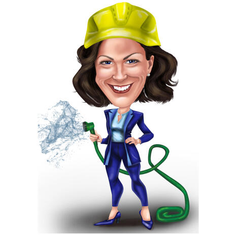 Custom Full Body High Exaggerated Caricature of Person Holding Water Hose - example
