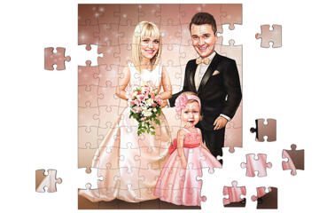 Caricature of Bride, Groom and Child for Wedding