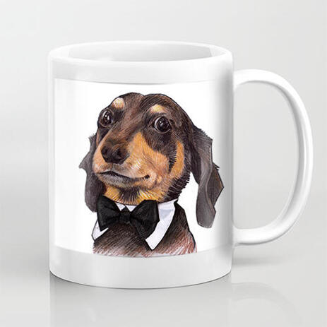 Pet Caricature Drawing in Colored Exaggerated Style on Mug Print - example