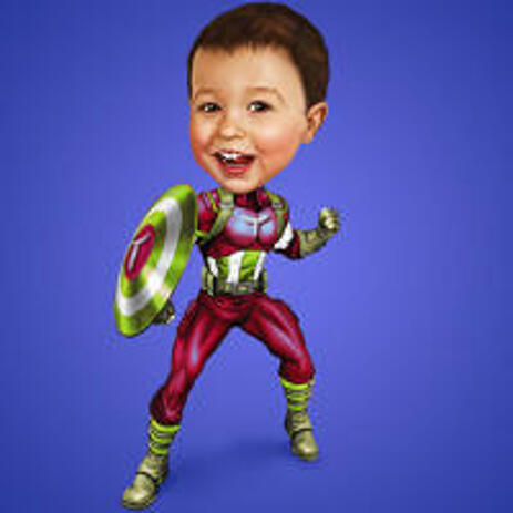 Personalized Superhero Caricature of your Kid from Photos - example