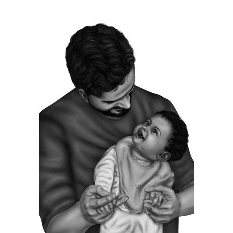 Father with Child Portrait from Photos in Black and White Style - example