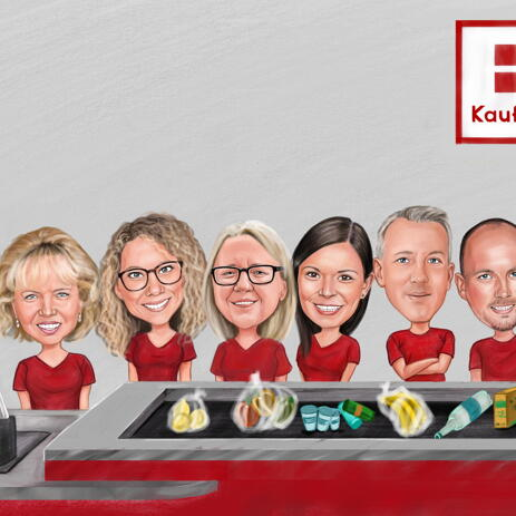 Staff Group Caricature from Photos - example