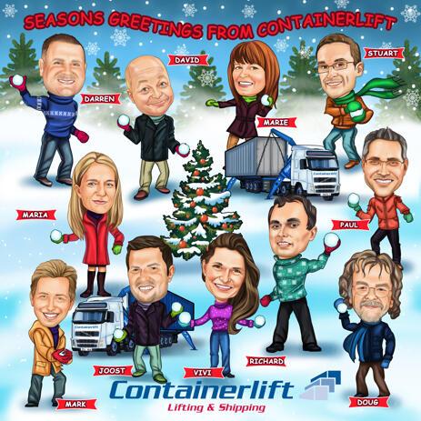 Custom Company Christmas Caricature Card from Photos - example