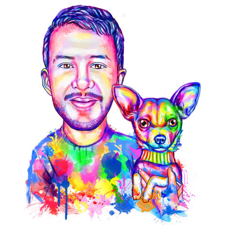 Person with Chihuahua Portrait in Watercolor Style from Photo - example