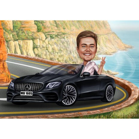 Person Traveling by Car Caricature for Vacation Trip Cartoonish Drawing Gift - example