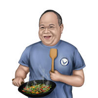 Cooking Caricature Portrait from Photos in Colored Style