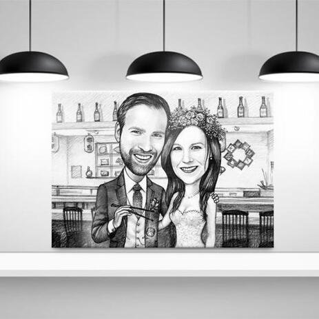 Wedding Caricature Printed as Canvas - example