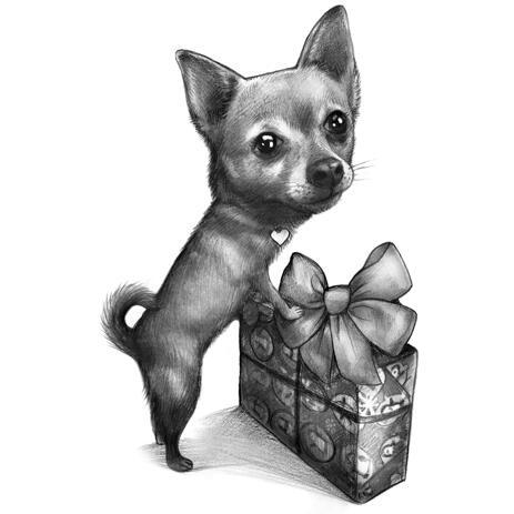 Roztomilý pes kreslený portrét v černobílém stylu pro dárek k narozeninám pro domácí mazlíčky - example