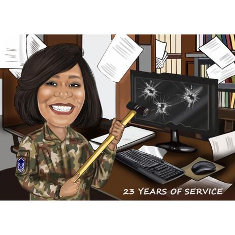 Wir feiern Jahre des Dienstes Benutzerdefinierte Karikatur von Fotos - example