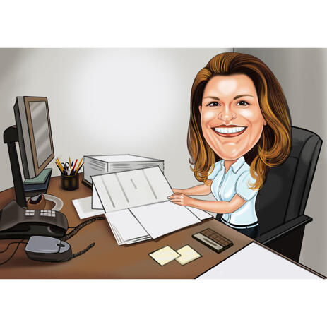 Busy Office Worker Person Caricature Gift for Office Staff Member in High Exaggerated Style - example