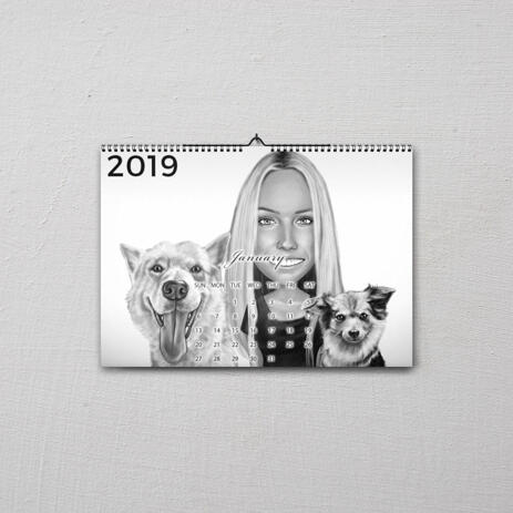 Owner with Pets Caricature on Calendar - example