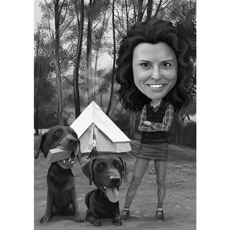 Owner with Pets Personalized Camping Out Caricature from Photos in Black and White Style - example