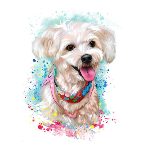 Bichon Maltaise Toy Dog in Soft Watercolor Pastel Style from Photos - example