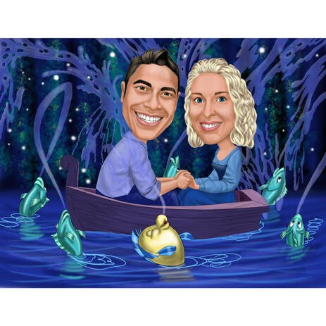 Famous Couple Mermaid Boat Scene Caricature in Colored Style with Background - example