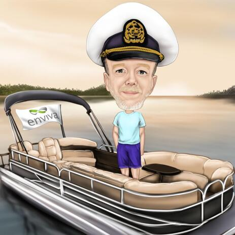 Person on Boat Caricature from Photos for Gift - example