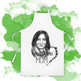 Photo Print on Apron: Custom Portrait Drawing of Woman in Pencils Style