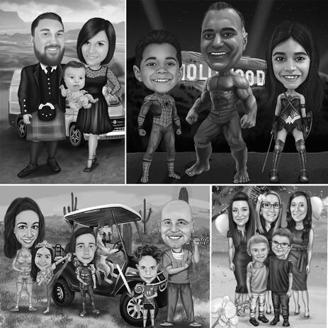 Full Body Family Caricature Portrait in Black and White Style with Custom Background - example