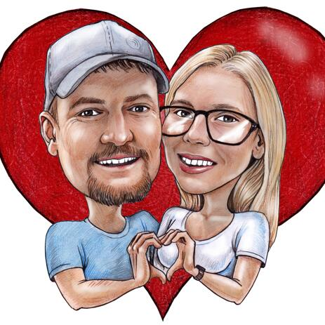 Heart Background Couple Caricature from Photos for Anniversary - example