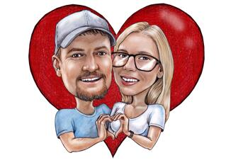 Heart Background Couple Caricature from Photos for Anniversary
