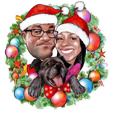 Семейная рождественская карикатура пары с домашним животным в рождественском венке - example