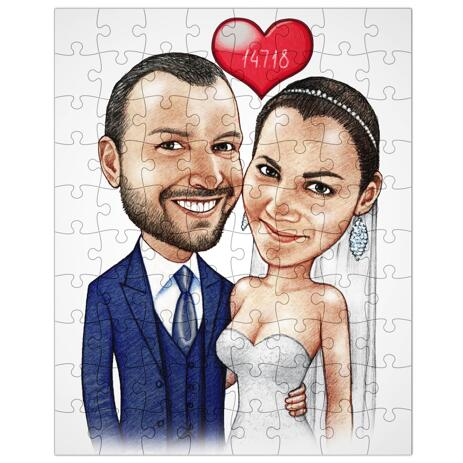 Wedding Caricature Printed on Puzzle - example