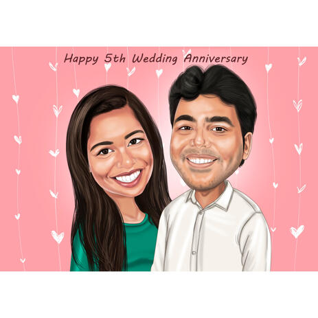 Hand Drawn Caricature for Husband or Wife Anniversary Valentines Day Gift - example