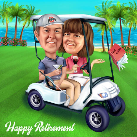 Couple Caricature in Golf Cart: Retirement Gift from Photos - example