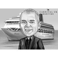 Persoon karikatuur portret met cruiseschip Hand getekend in zwart-wit stijl uit foto's