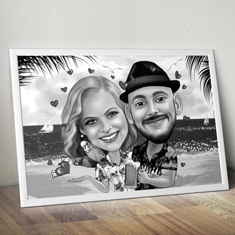Couple Caricature Poster in Black and White Style - example