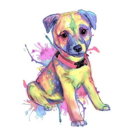 Mukautettu koiran sarjakuva - pastelli akvarellityylinen koko vartalo - example